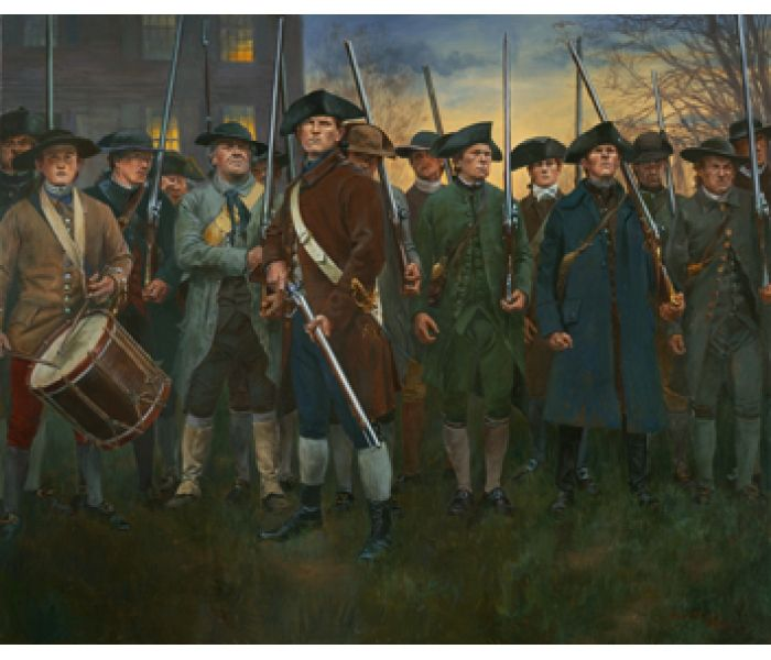 Lexington Common, April 19, 1775  The Art of Don Troiani Here we see in this exciting new painting by Don Troiani, Captain Parker with his small company of average citizens, formed to protect their rights against an overwhelming force.