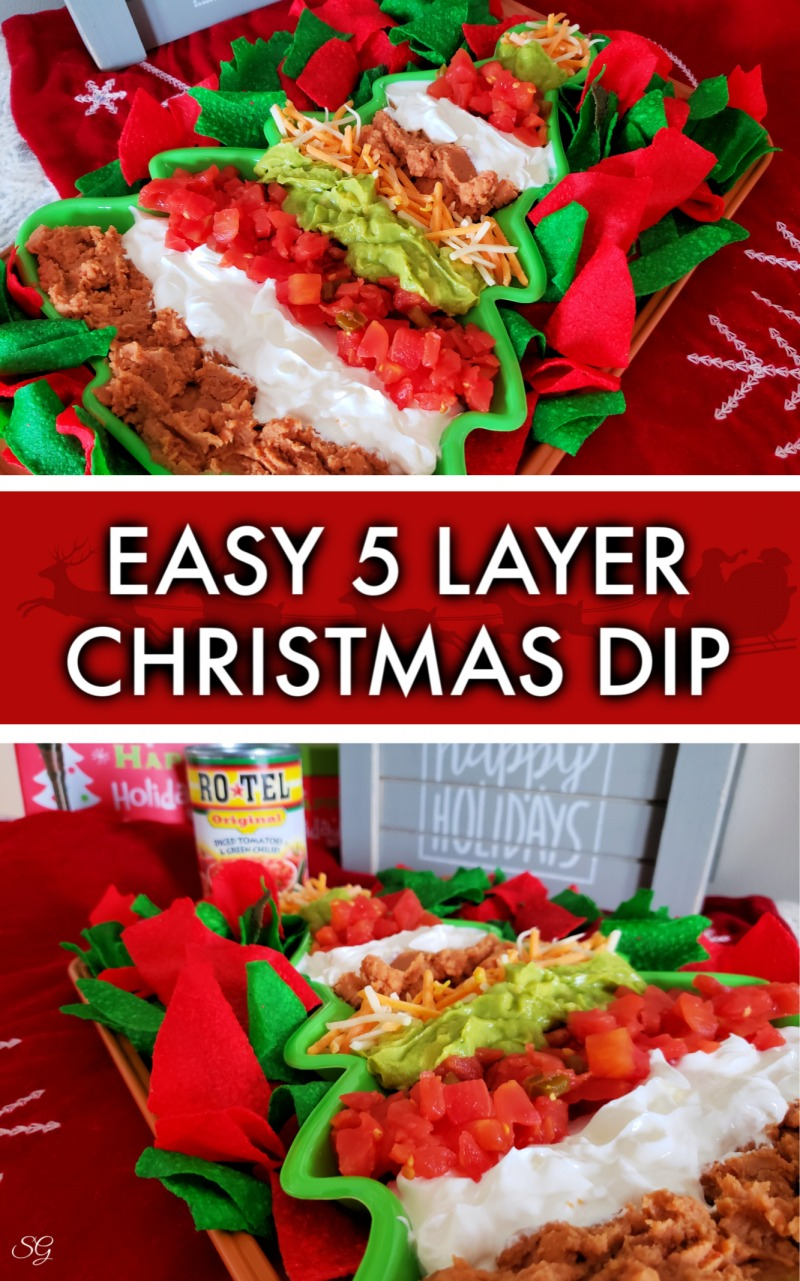 Get this easy 5 layer Christmas dip recipe that we put into a Christmas tree shaped pan!