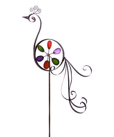This Metal Peacock Garden Spinner is perfect! #zulilyfinds