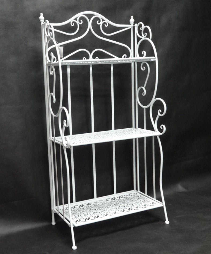 Garden Folding 3 Tier Stand (Gloss White), Steel Plant Rack, Bakers Rack