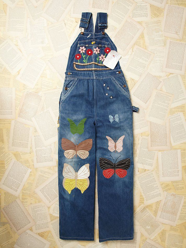 6fbdeb1490b Vintage Embroidered Overalls butterflies patches overalls denim ...