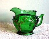 Vintage Creamer Heisey Antique Emerald Green Winged Scroll Glass Creamer