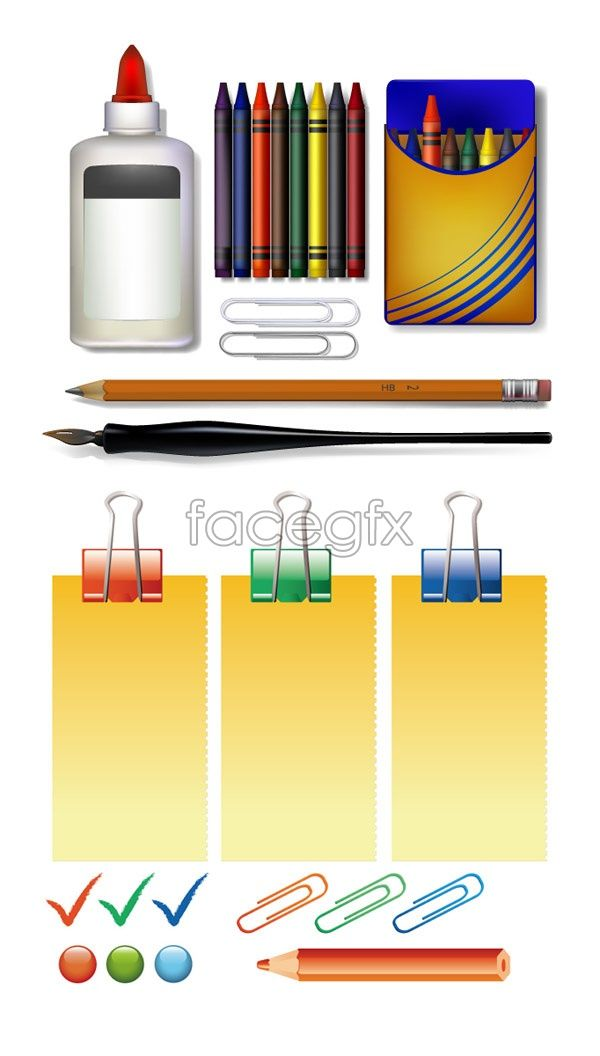 Stationery vector button clip color pencils