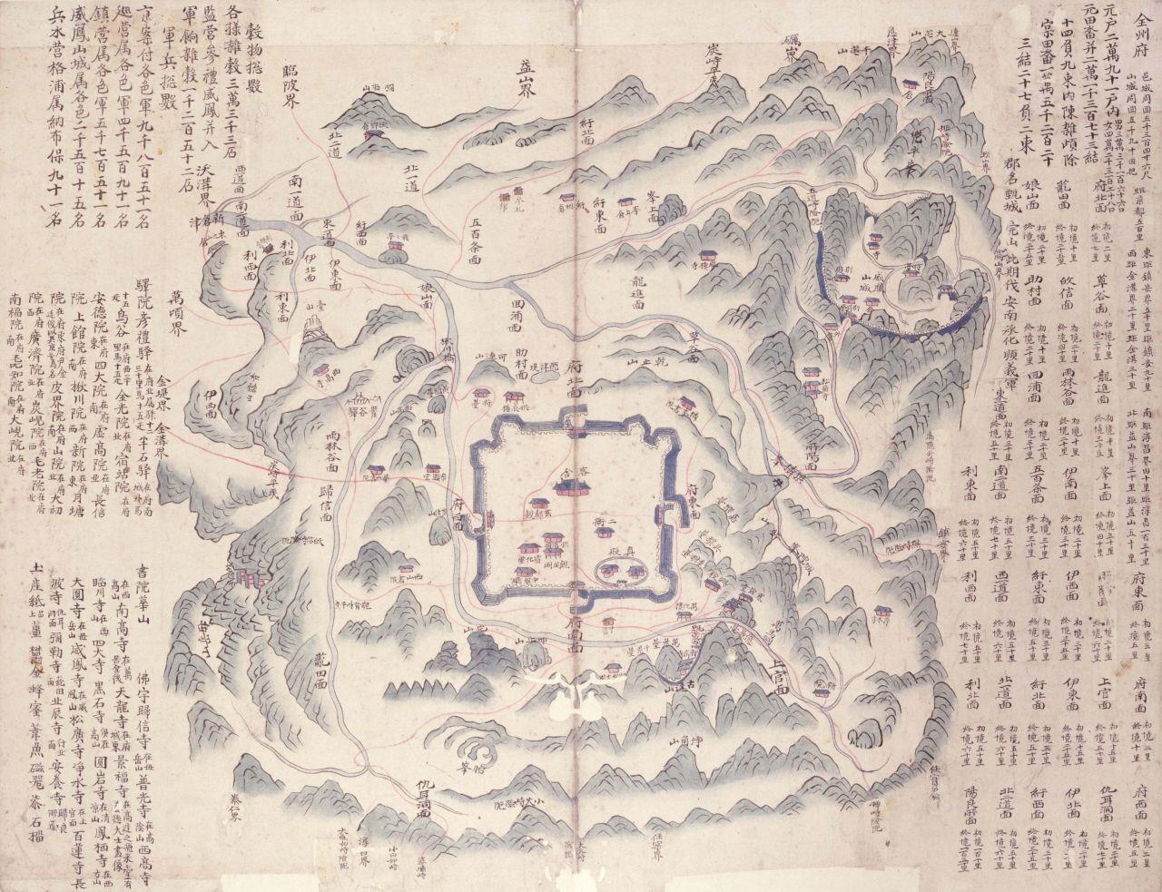 서울대학교 규장각 지리지 종합정보 해동지도고대 전주부 - Jeongju map