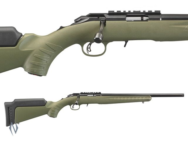 Ruger American rimfire in 22 wmr with OD green composite