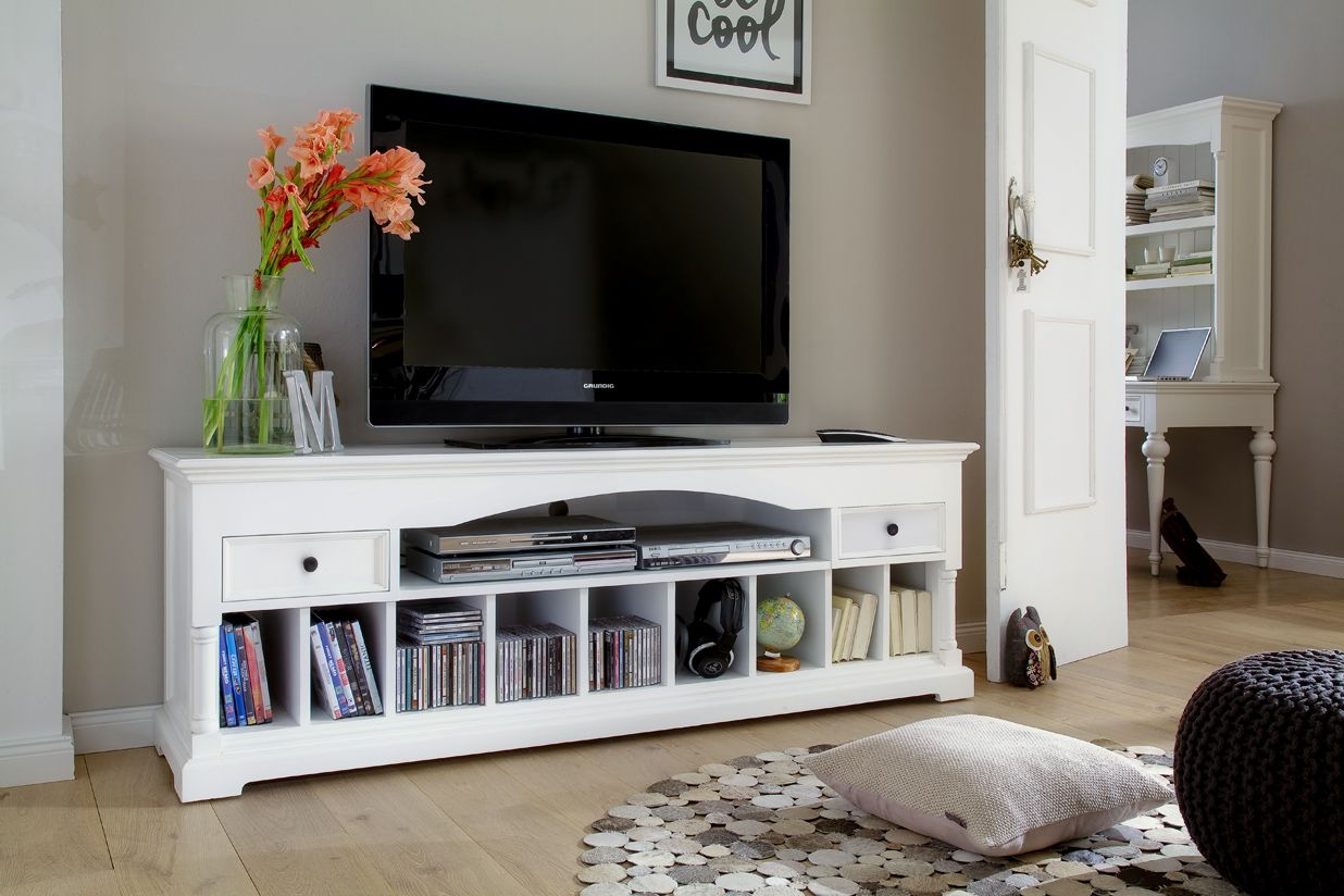 Meuble Tv En Bois Blanc 2 Tiroirs Et Niches De Rangement 180x60cm Acajou Royan Mobilier De Salon Meuble Tv Bois Meubles De Rangement