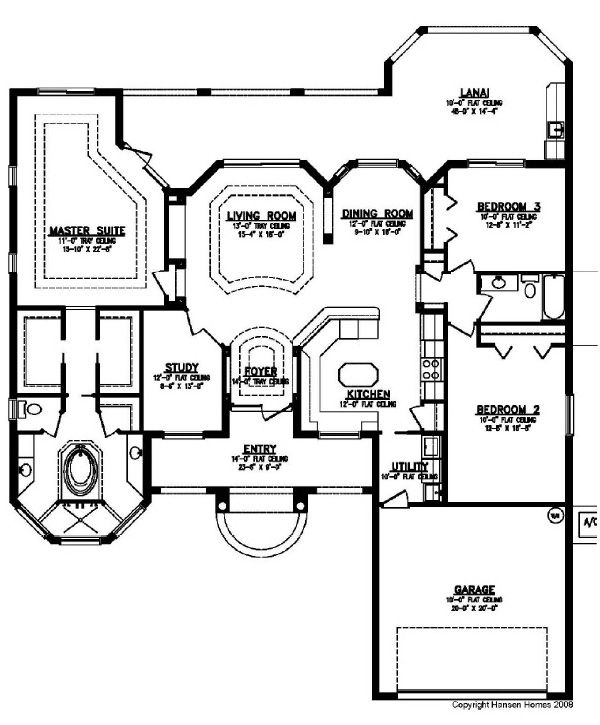 Palazzo Home Plan, 3 Bedroom, 2 Bath, 2 Car Garage · House Floor PlansHome  ...