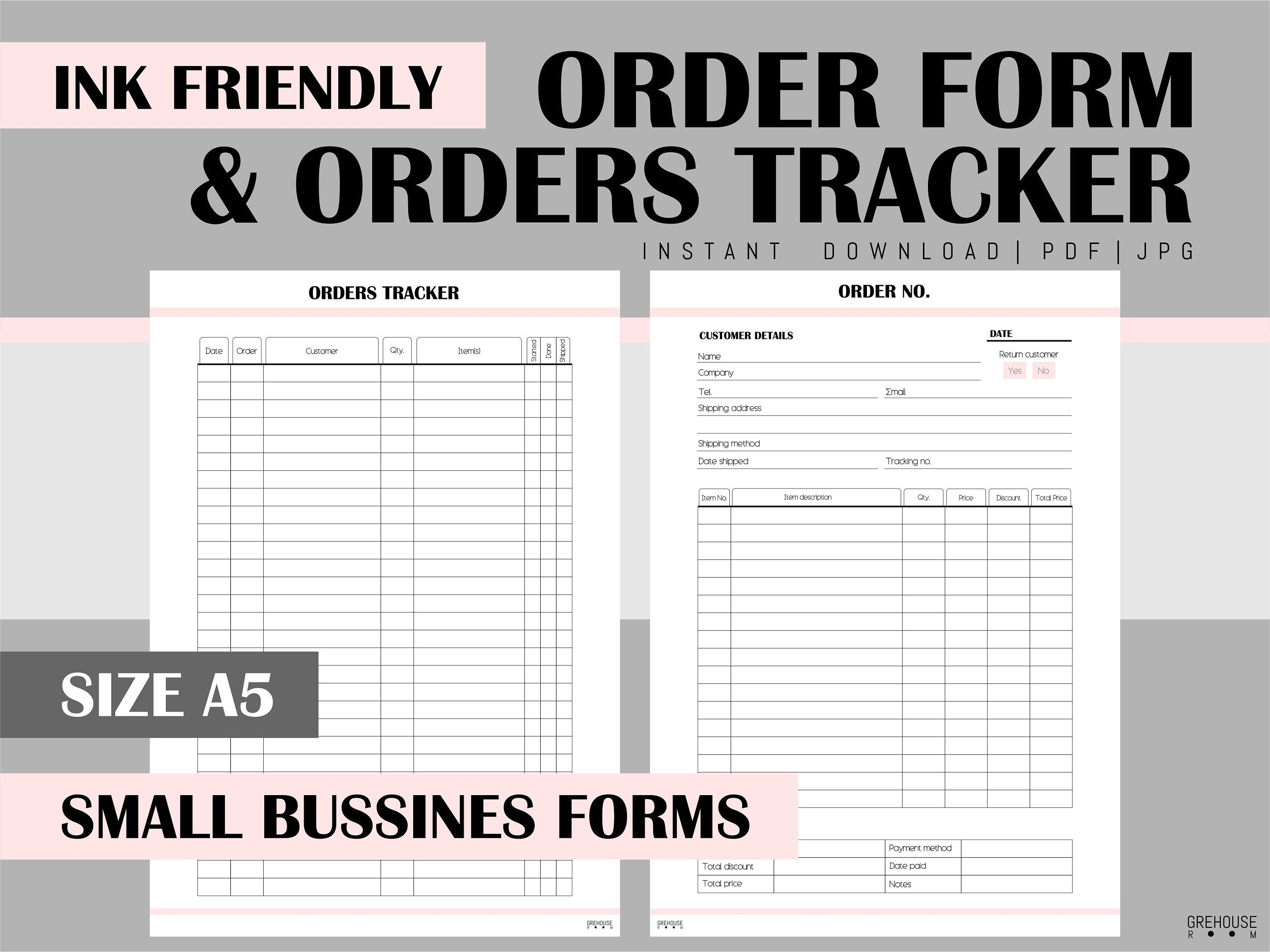 Order Form Template Order Tracker Printable Filofax A5 Planner Etsy Planner Inserts Refillable Planner Order Form Template