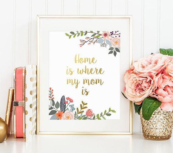 Gold Letter Decor Home Is Where My Mom Is Printable Mothers Day