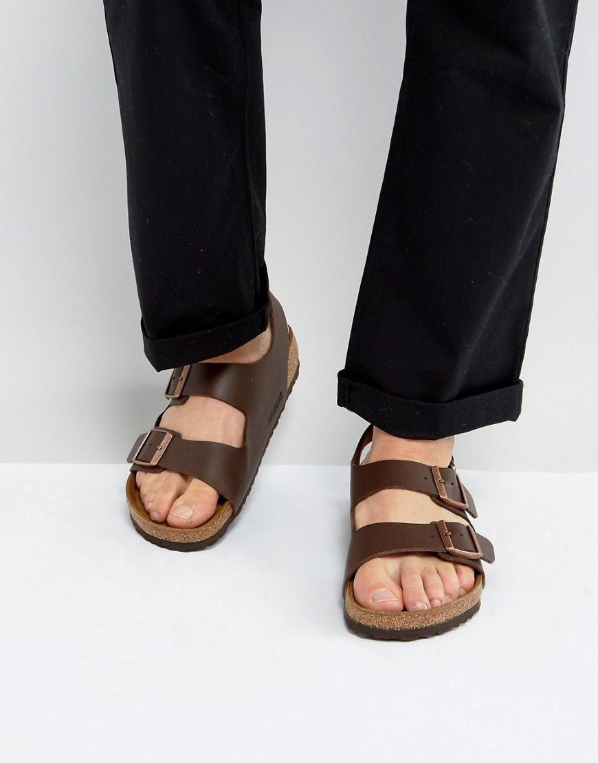 806959599027 BIRKENSTOCK MILANO SANDALS IN DARK BROWN - BROWN.  birkenstock  shoes