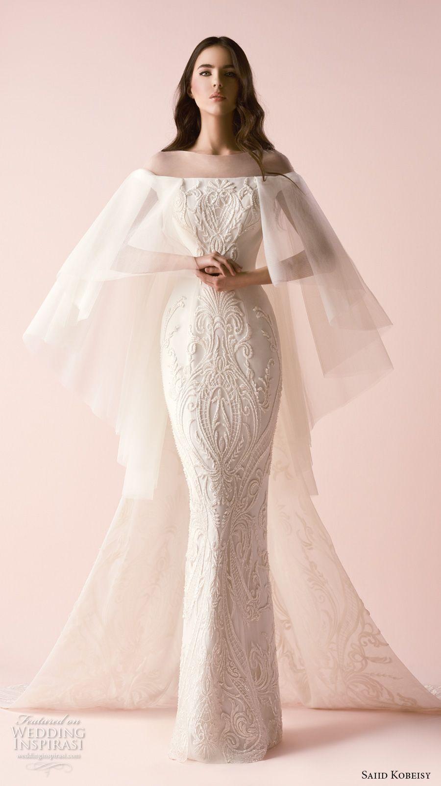 saiid kobeisy 2018 bridal angel sleeves illusion bateau straight across  neckline full embellishment elegant sheath wedding 905cedbfee