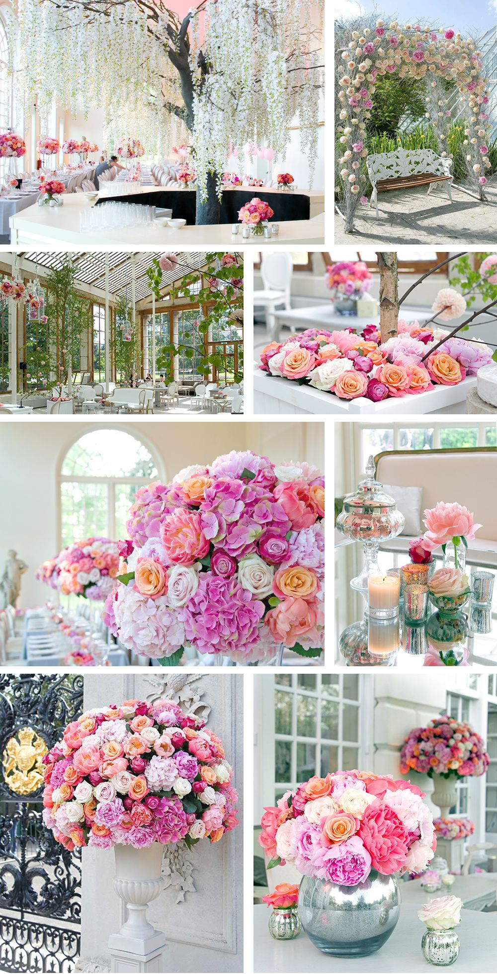 Dream Weddings A Mass Of Flowers In Urns Tall Glass Vases With