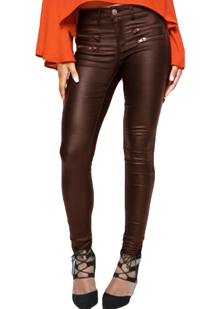 Side Zippers Coffee Leather Skinny Jeans_Leather Jeans_Women ...