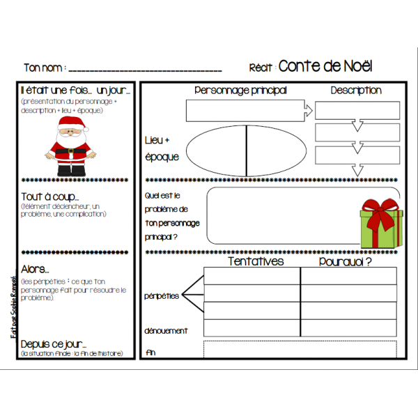 Sehr Plan d'écriture avec les 5 étapes du récit sur le thème de Noël  WI02