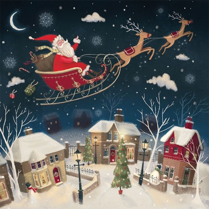 Show details for Santa over the rooftops Christmas cards - Pack of 10