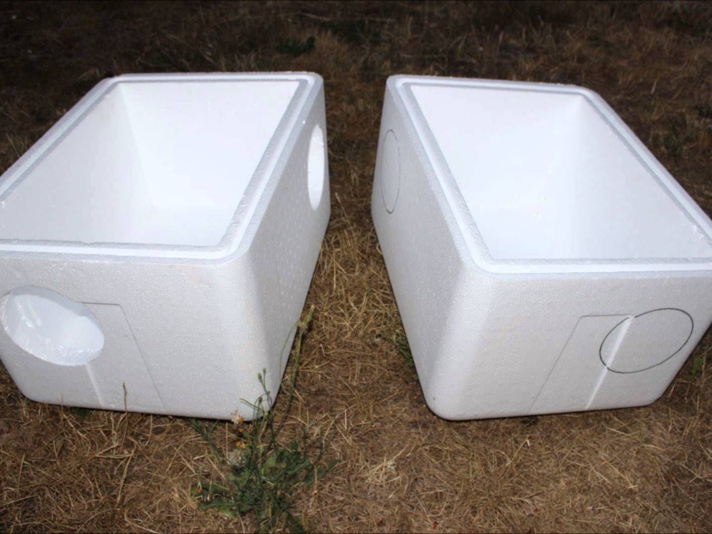 Make an extra large feral cat shelter from styrofoam