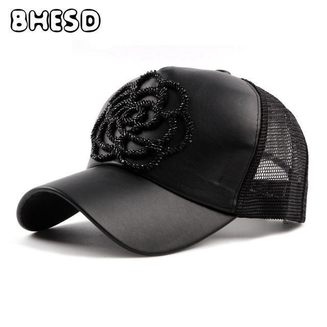 1bae843ea7d0 BHESD 2017 Flower PU dad hat Floral Black mesh hats Women Snapback baseball  cap Female Trucker Caps Bone Casquette Gorras JY-028