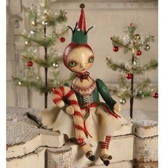 NEW Christmas Candy Cane Elf Folk art Doll by Robin Seeber - Bethany Lowe RS0018