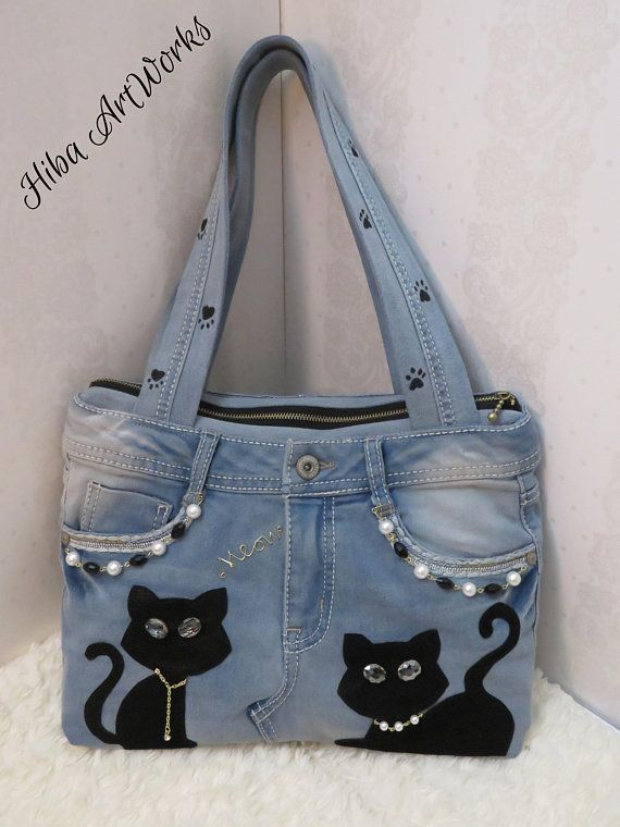 Hecho a medida – Bolso hecho a mano para mujer, denim, bolso de jeans, gatos de cuero f …