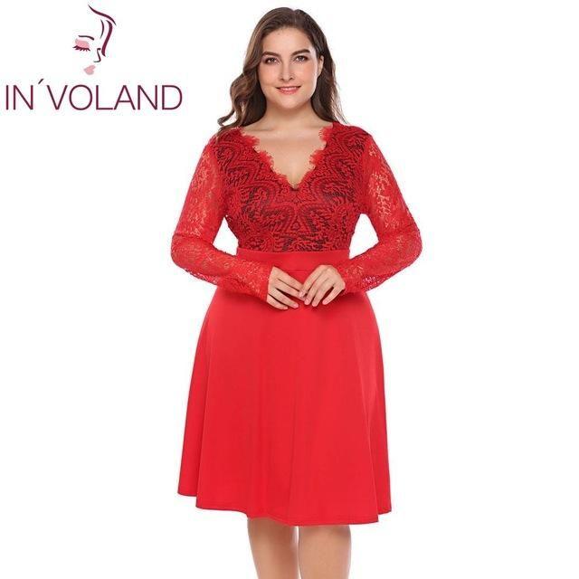 a77909cf2d000 Women Lace Dress Plus Size Hollow Floral Long Sleeve Backless Large ...