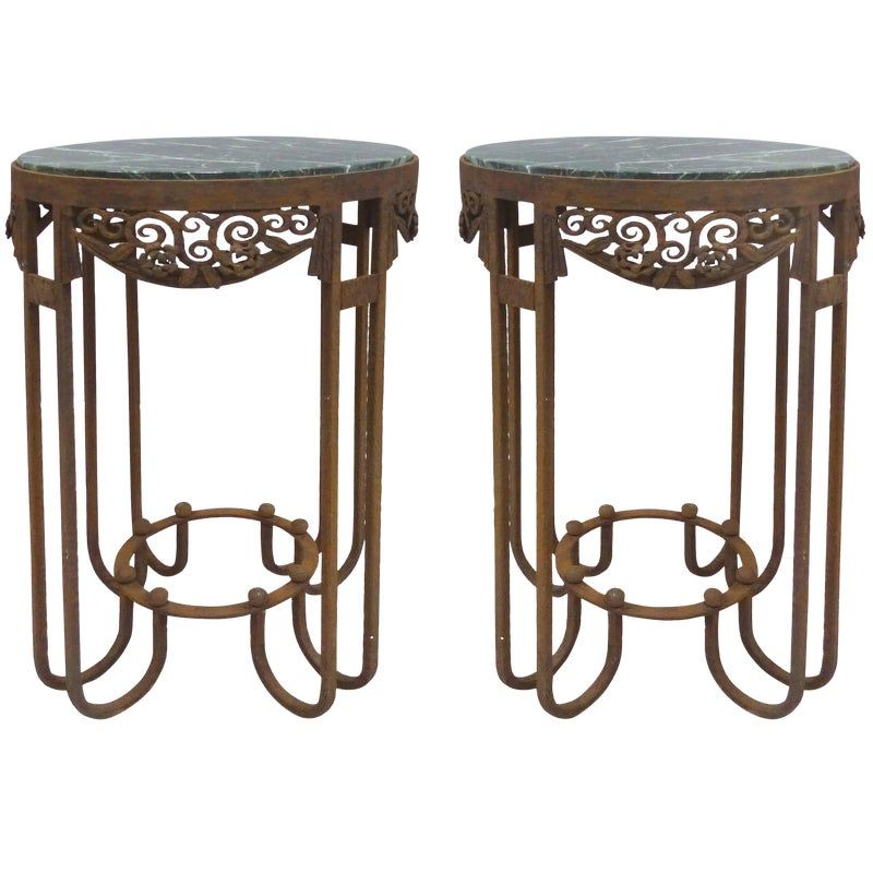Paul Kiss French Art Deco Wrought Iron Marble Top Tables A Pair