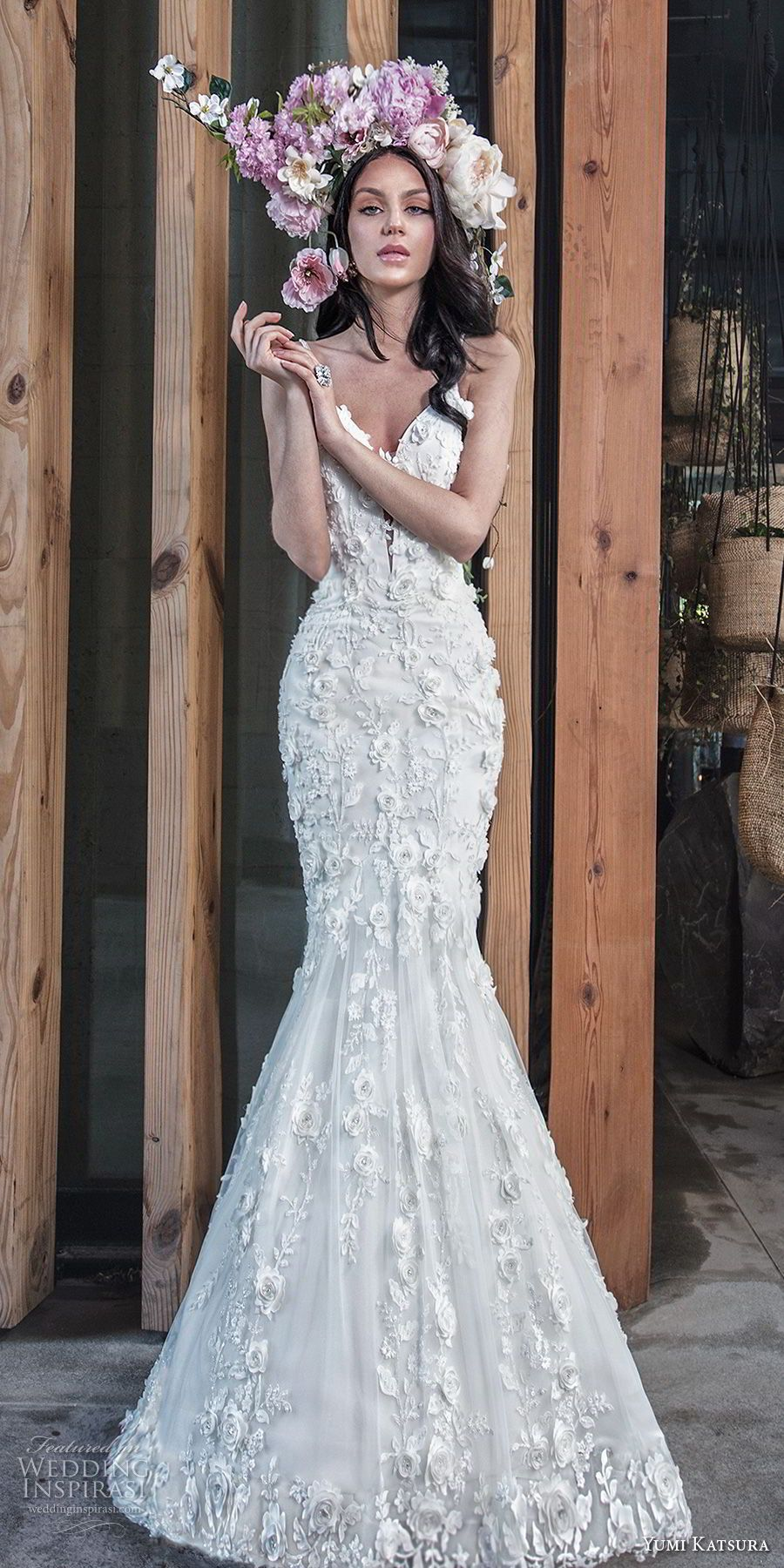cfadf3435b71f yumi katsura spring 2019 bridal sleeveless thin strap deep plunging  sweetheart neckline full embellishment romantic mermaid