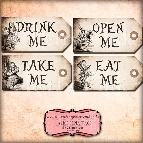 Alice in wonderland Tags, SEPIA ALICE tags, Alice in Wonderland decoration, instant download, perfect for parties, presents and invitations -