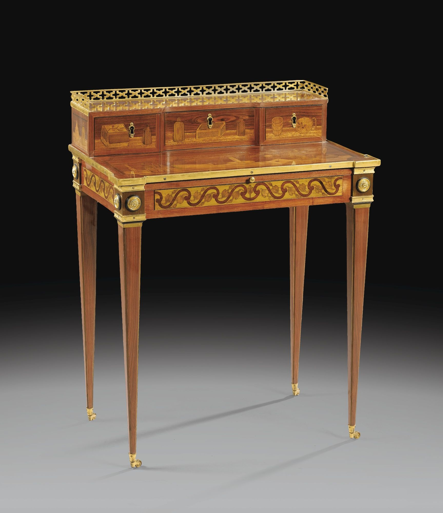 A louis xvi gilt bronze mounted marquetry happiness of the for Bureau louis xvi
