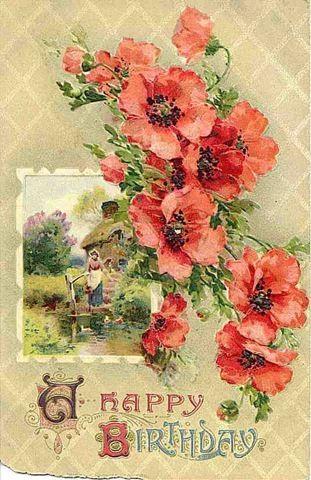 Happy birthday flores vintage pinterest vintage greeting cards cards m4hsunfo