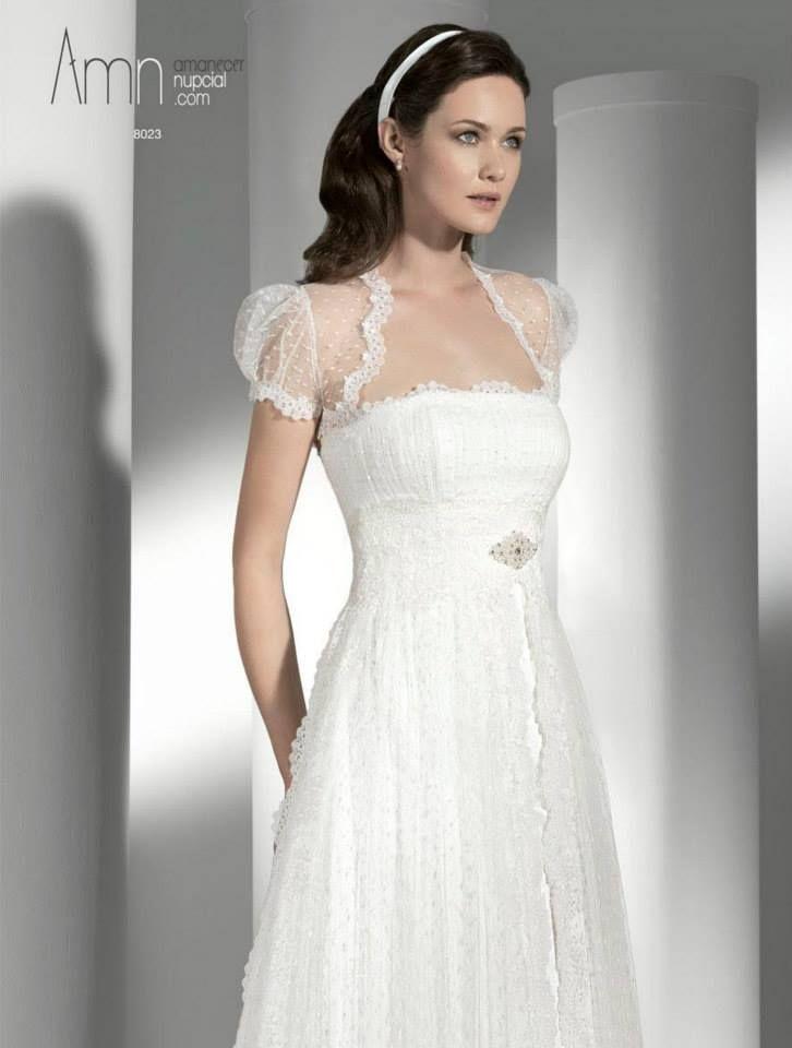 8023 vestido novia corte imperio, tul de topos, encaje y pedrería