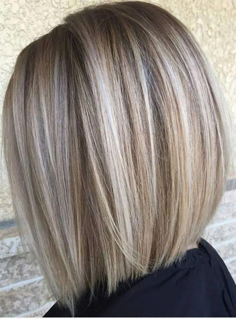 Blonde Bob With Beige And Ask Highlights Throughout Love This Hairstyles Bobhairstylesforfinehair In 2020 Long Bob Hairstyles Bob Hairstyles Hair Styles