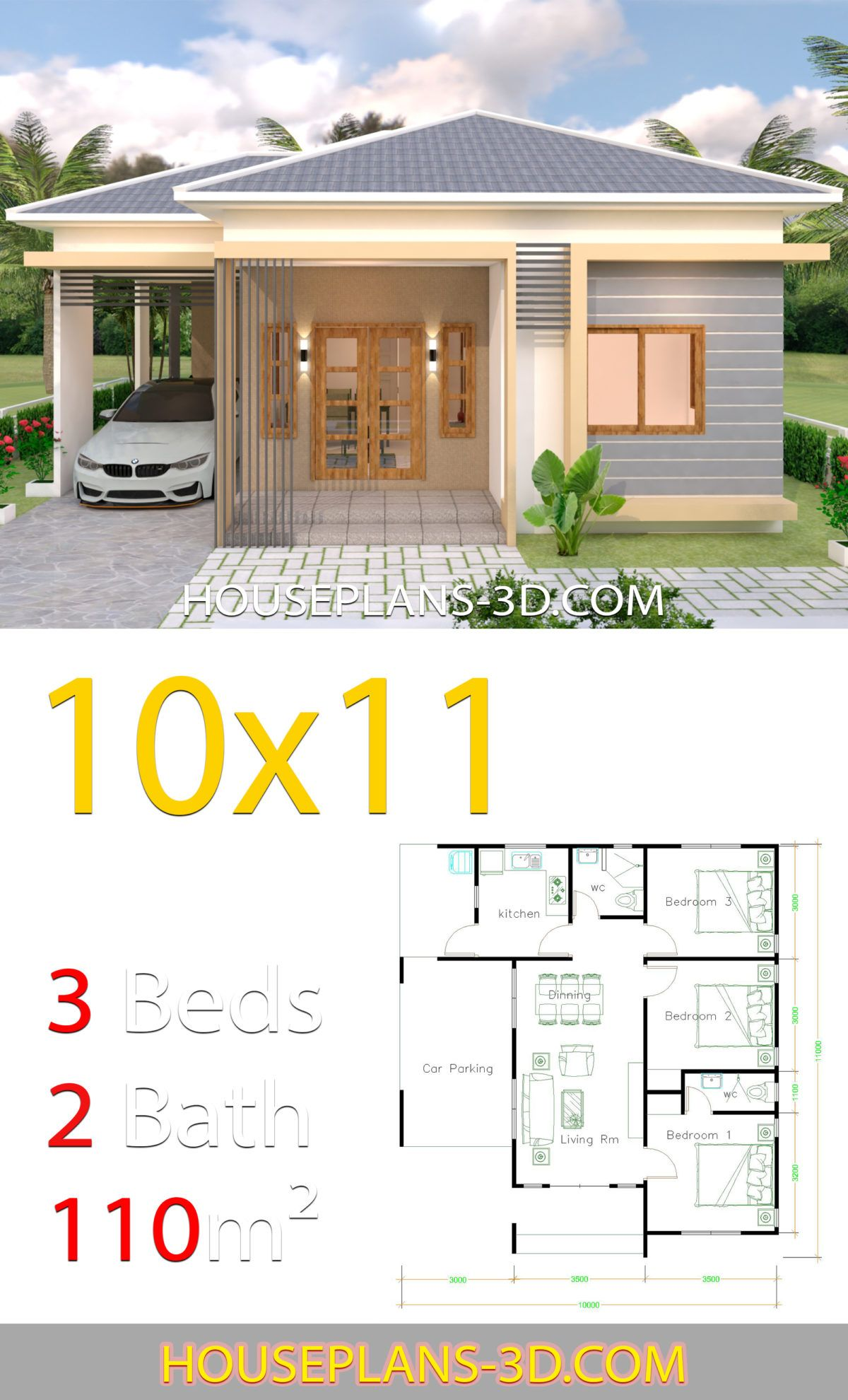 House Design 10x11 With 3 Bedrooms Hip Tiles House Plans 3d In 2020 Small House Plans Tiny House Plans 2 Bedroom House Plans