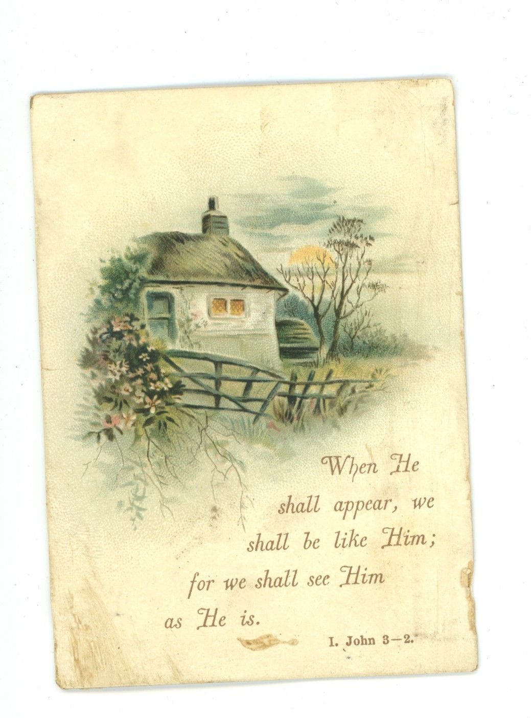 Victorian Greeting Card Religious Quote Country Cottage Scrapbook