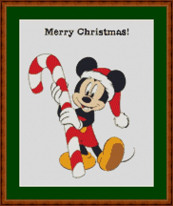 mickey mouse merry christmas the scheme for embroidery - Merry Christmas Mickey Mouse