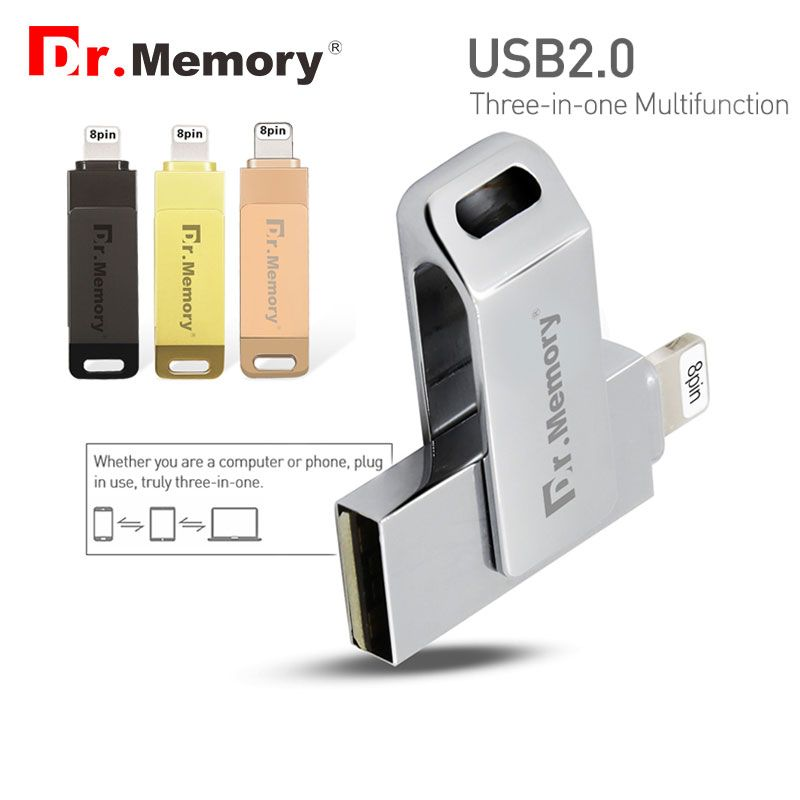 Dr Memory 3 In 1 Otg Usb Flash Drive 128gb Flash Metal Mfi Pen Drive 32gb For Iphone 5s 6 6s 7 Ipad Stick For Apple Pen Drive Usb Flash Drive External Storage