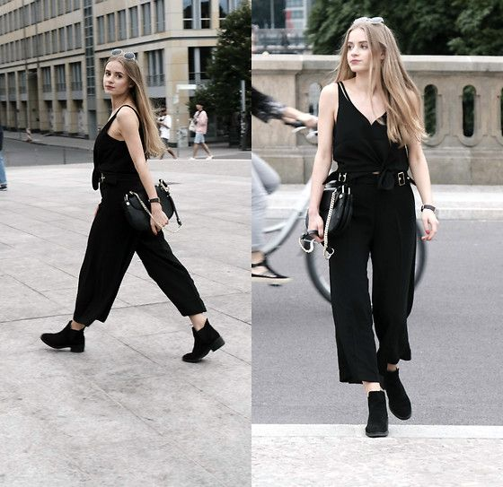 Get this look: http://lb.nu/look/8331703  More looks by Anette Kramarska: http://lb.nu/anettekram  Items in this look:  H&M Trousers, Zara Bag, Topshop Blouse, Stradivarius Boots   #chic #classic #elegant #classy #date #trousers #blonde #allblack #smart