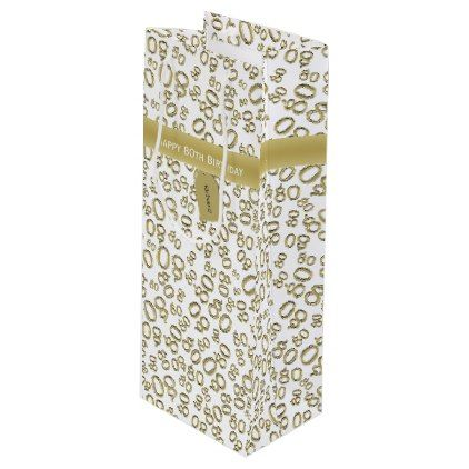 Personalize Happy 80th Birthday Gold White W Wine Gift Bag