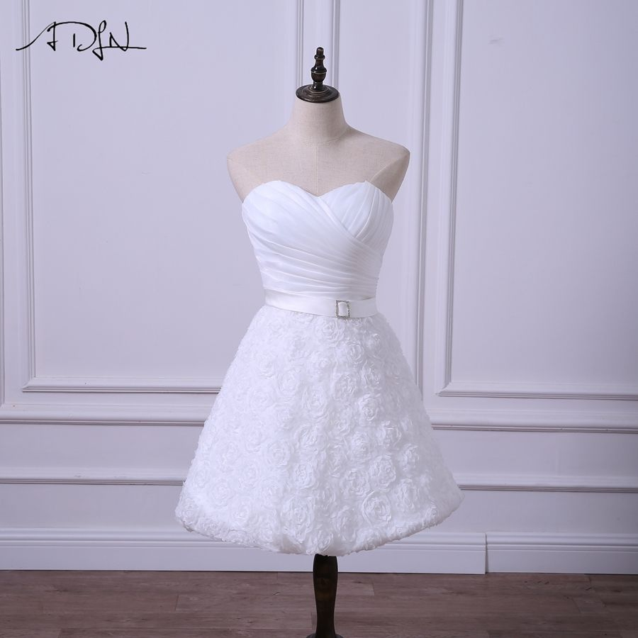 ADLN New Short Wedding Reception Dresses Cheap WhiteIvory Bridal
