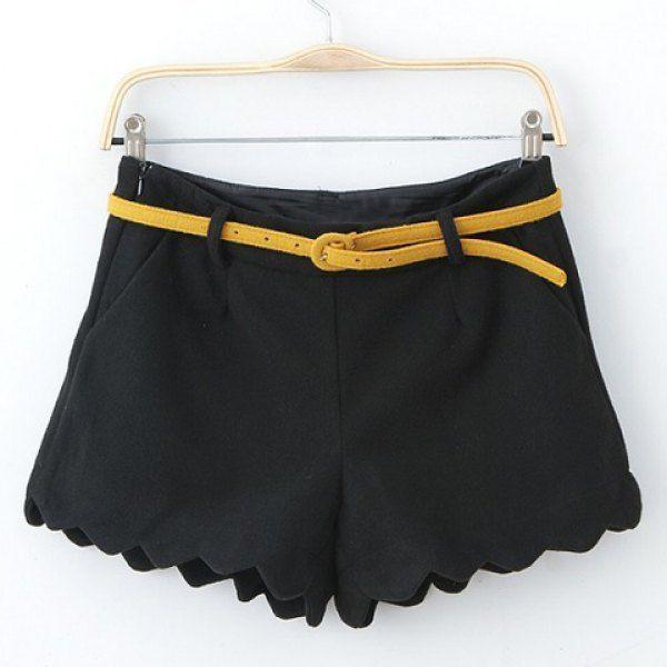 Ladylike Solid Color Zipper Flounce Hem Straight Shorts For Women.