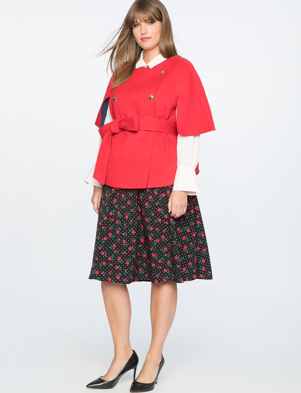 b4dc285d04625 Draper James for ELOQUII Floral Dot Skirt Forget Me Dots - Red