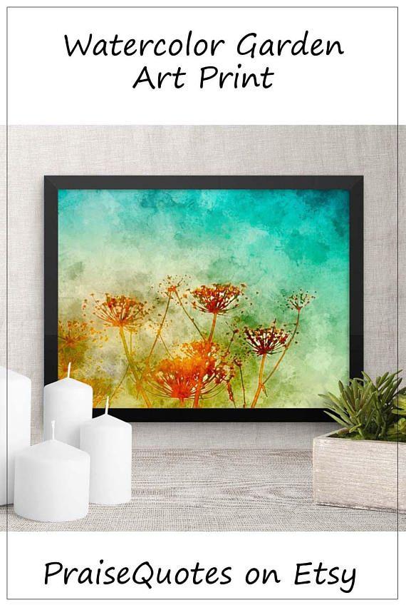 Framed Watercolor Garden Print, Art for Mom, Modern Home Decor ...