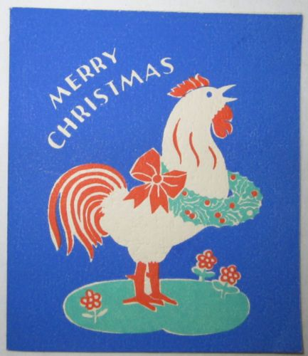 Vintage Christmas Card - Christmas Rooster / Cock - Susan Holton Ca.1940
