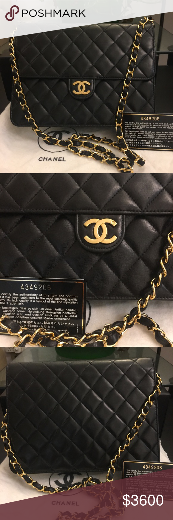 d3bf051814ef4 100% Authentic Chanel Bag 100% Authentic Chanel Quilted Matelasse 22 CC Logo  Push Lack