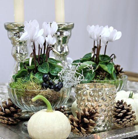 alpenveilchen tischdekorationen basteln pinterest herbst dekoration und dekorieren. Black Bedroom Furniture Sets. Home Design Ideas