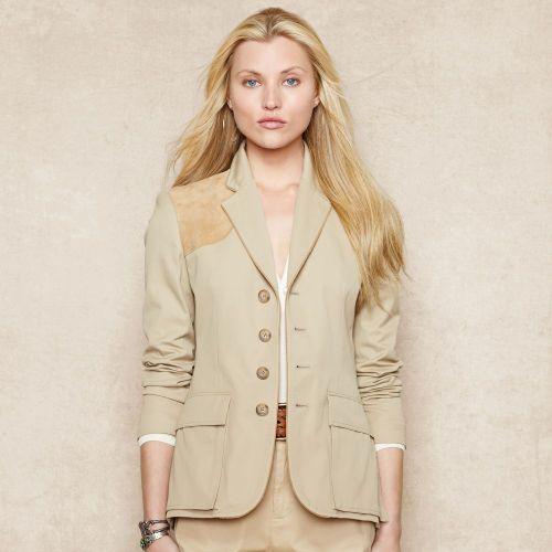 Suede-Trim Jacket - Jackets & Vests  Women - RalphLauren.com