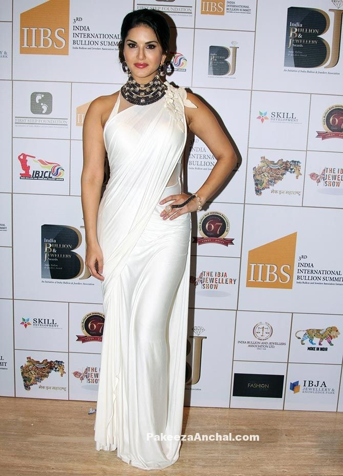 c3d7c0140b841 Sunny Leone in White Satin Saree with shoulder detailing and Halter Neck  Blouse-PakeezaAnchal.com