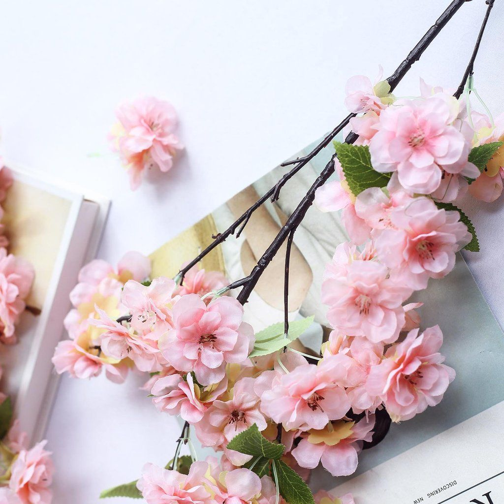 Pink Faux Cherry Blossom Flower Branch 40 Cherry Blossom Flowers Cherry Blossom Branch Spring Wedding Flowers