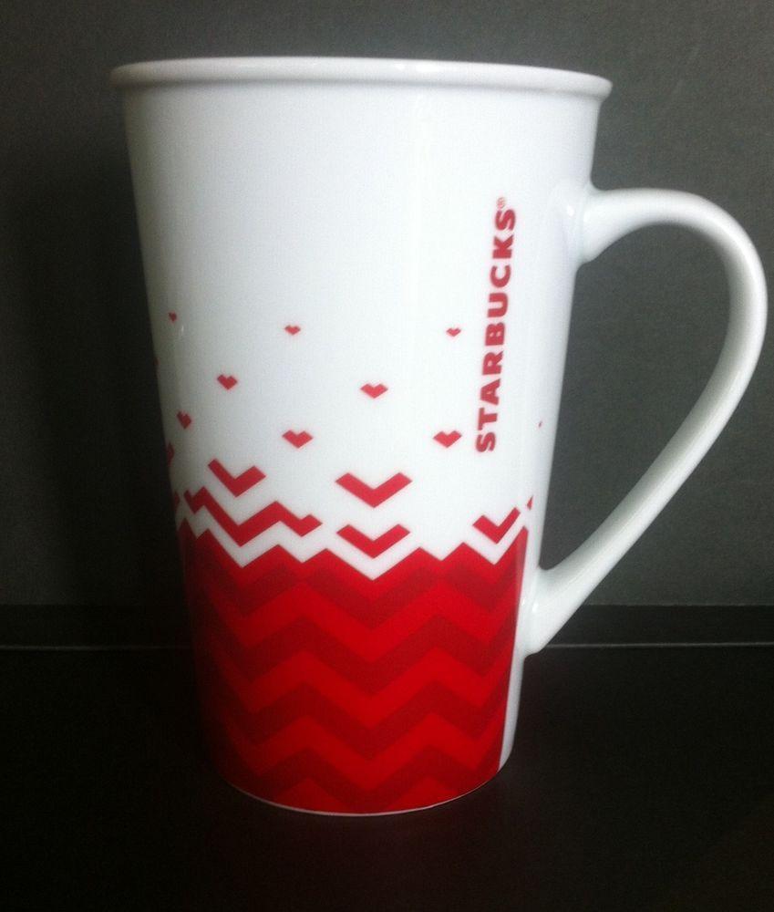 Starbucks Mug Red & White Chevron Valentines 22 Oz Venti