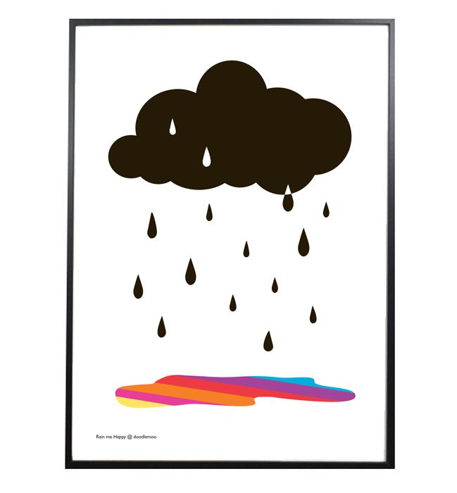 Cloud Print Rain Me Happy White Prints Clouds Print