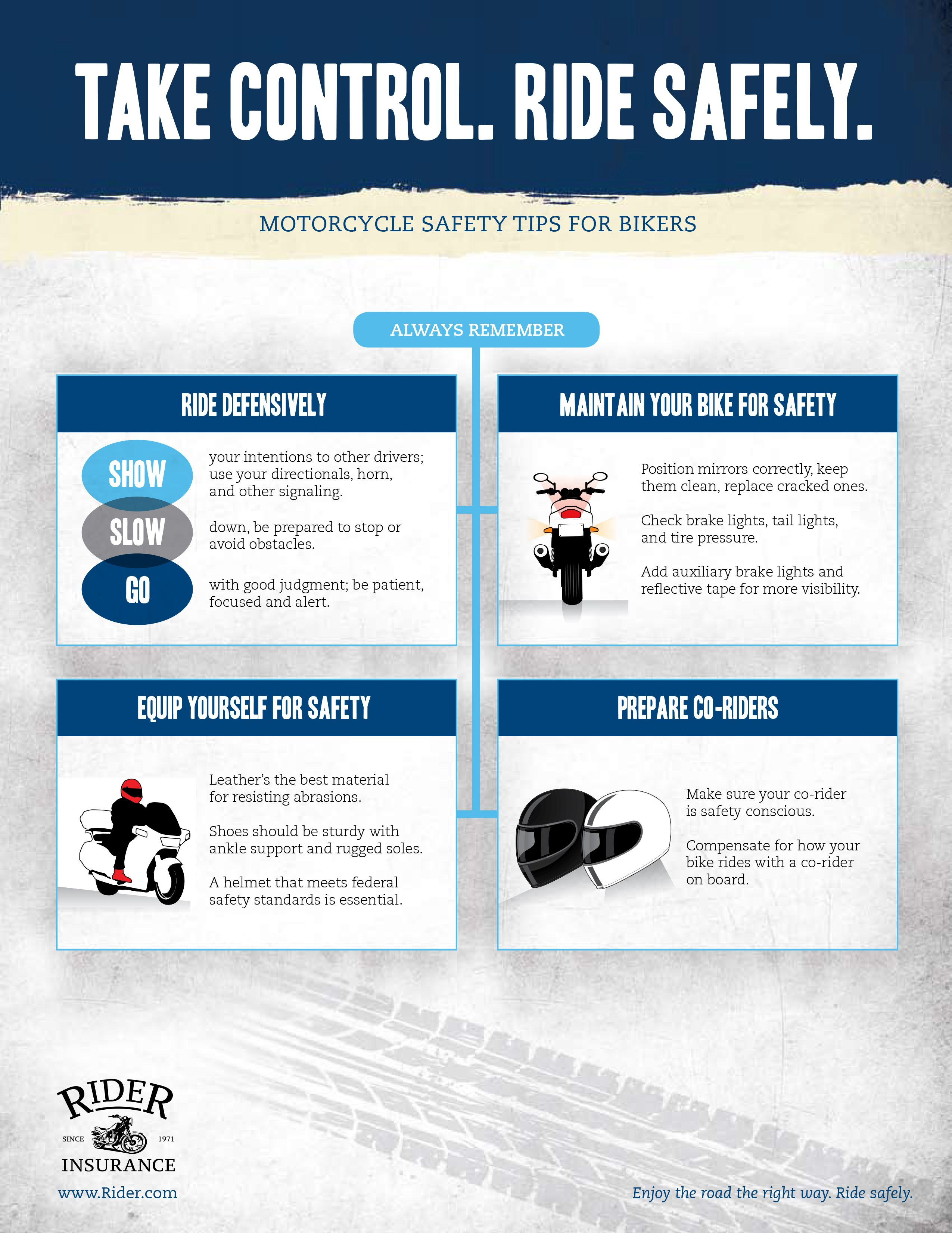 Rider Safety Tips By Rider Insurance Motorcycle Safety Safety Tips Rider